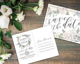 Romantic Garden Save the Date Postcard, Printable or Printed - Vintage Floral