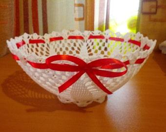 Handmade bowl  with crochet
