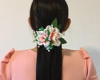 Flower Hair Clip, Floral Hair Clip, White Flower Hair  Barrette