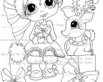 Descarga inmediata Digi sellos ojo grande Big Head Dolls Digi Bestie Winter Wonderland Img027 por Sherri Baldy