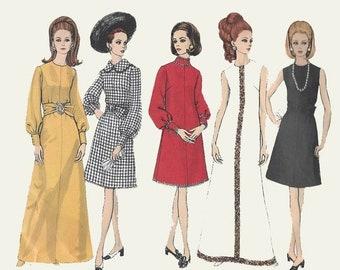 ON SALE Vintage 1960s Mod A-line dress w/ jeweled neckline in Two Lengths Sewing Pattern Vogue Basic Design 2067 60s Madmen Pattern Size 12