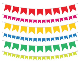 Single Color Flag Bunting Banner Clip Art Set | Flag String Decoration Party Graphic | Digital Vector Border | Personal or Commercial Use
