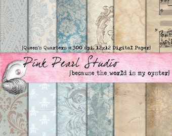 Queens Quarters Blue Brown Grey Shabby Digital Paper Pack 12x12...Scrapbooking, Crafts and Cardmaking
