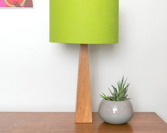 Lime Green Wooden Oak Table Lamp