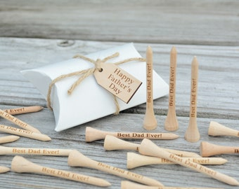 """READY to SHIP!! 20 Personalized Golf Tees, Fathers Day, Gift for Dad, Golf Tees for Dad, Engraved Golf Tees, Happy Father's Day, 2 3/4"""" Tees"""