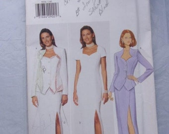 Misses' Jacket and Long Evening Dress, Sweetheart Neckline, Princess Seams, Semi-Fitted, Lined Jacket, 1998