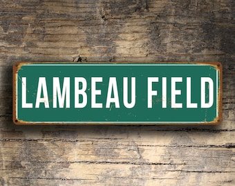 LAMBEAU FIELD Sign, Vintage style Lambeau Field Stadium Sign, Lambeau Field, Green Bay Packers sign, Football Gifts, Packers Sign