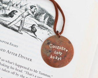 Courage Dear Heart Narnia Fandom Encouragement Necklace Inspiration Motivational Aslan Quote CS Lewis Literary Gifts Book Lover Stamped Word