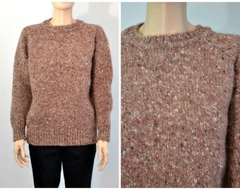 Vintage Chunky Wool Tweed Sweater - Aran Sweater - made in Ireland