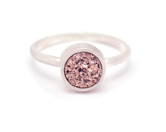 Rose Gold Druzy Quartz Ring - Sterling Silver - Bezel Set - Druzy  - Available sizes 4.5, 5, 5.5, 6, 6.5, 7, 7.5, 8, 8.5, 9, 9.5 and 10
