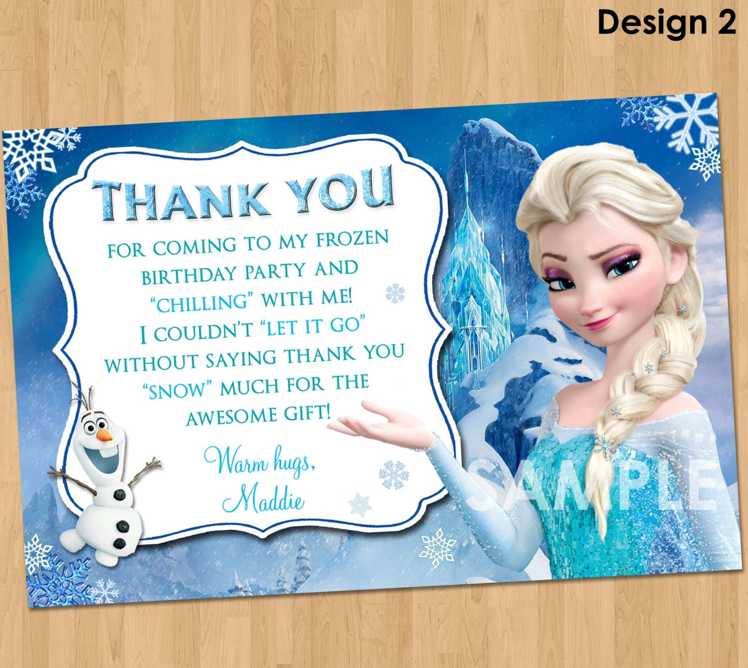 Frozen thank you card disney frozen thank you note frozen zoom monicamarmolfo Images