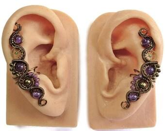 Amethyst & Bronze Steampunk Ear Cuffs - Steampunk Jewelry