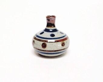 Small Bud Vase | Vintage Hand Made Vase | Miniature Bud Vase | Flower Vase | Incense Holder | Blue and Red Vase | Pottery