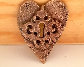 Handcrafted Baroque Bronze Metal Heart with Keyhole Pendant