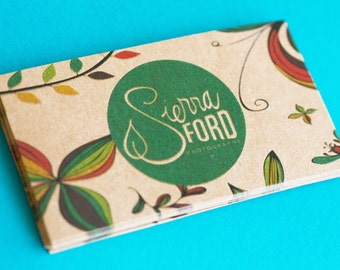 200 Business Cards or tags - 13 PT brown kraft paper with raised ink - environmentally friendly - full color custom printed