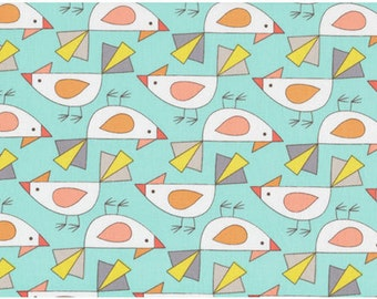 Birds Of A Feather by Mark Hordyszynski for Michael Miller - Tweet - Aqua & Coral - 1/2 yard cotton quilt fabric 516