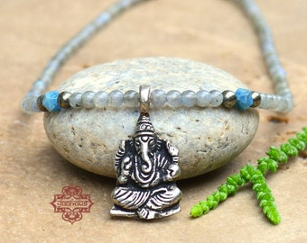 Ganesha Pendant on Laboradite Gemstone Beaded Necklace, Yoga Jewelry, Ganesha Necklace, Ganesha Jewelry, Boho Jewelry, Bohemian Jewelry