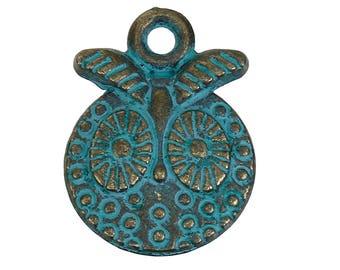 Ethnic pendant oxidized patina metal 18mm, set of 2 Pcs