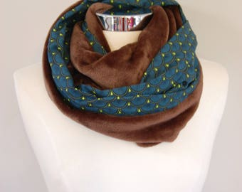 Snood Brown plushie / small teal and lime green patterns