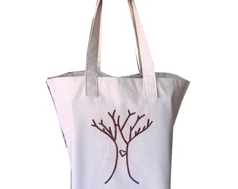 Shopping bag, Canvas Tote, cotton market tote, Large reusable grocery bag - I Heart Trees 2