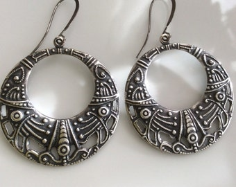 Bohemian Earrings  Large Silver Hoop Earrings  Boho Earrings  Antiqued Silver Hoop Earrings  Gypsy Dangles
