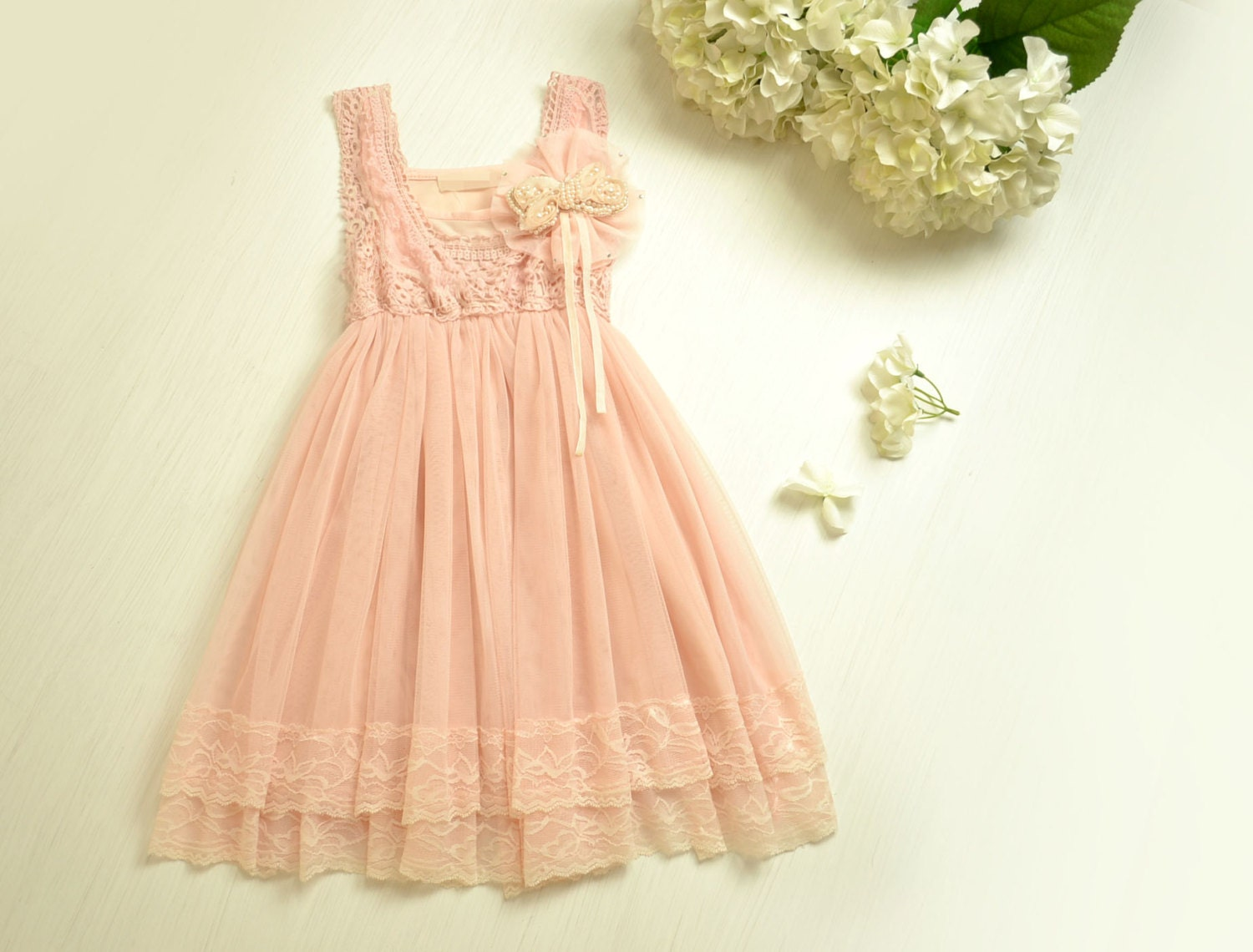Vintage pink lace girls dress flower girl bridesmaid dress zoom ombrellifo Choice Image