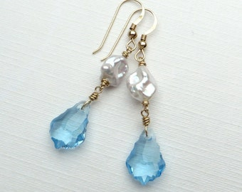 Baroque Aquamarine Crystals White Keishi Pearl Gold Earrings