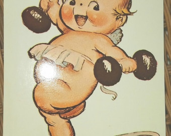 Weightlifter, Kewpie postcard, Vintage 1970s, Rose O'Neill, mint,Collectible, Christmas Card, Scrapbooking, Greeting card, Unused, Post Card