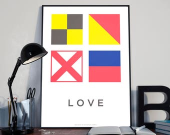 LOVE — Poster — Maritime/Navy Signals — A3 format