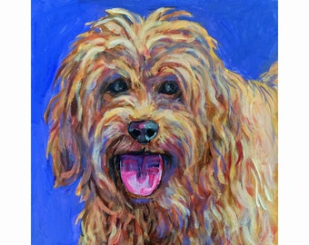 "Original Acrylic Painting, ""Red Labradoodle"""