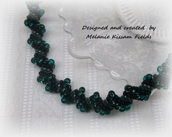 Long Teal and Black Bead Spiral Rope Necklace