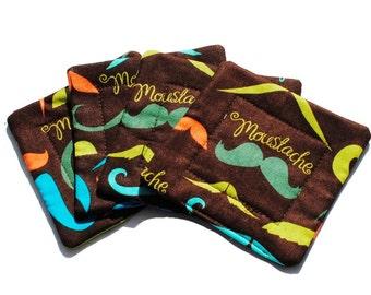 Handmade Quilted  Coasters set of 4 Mustaches in Brown