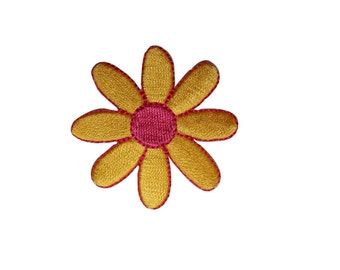 ID 6065 Yellow and Pink Daisy Flower Patch Blossom Embroidered Iron On Applique