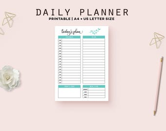 Daily planner, printable planner pages, a5 planner inserts, to do list, productivity planner, digital download, a5 daily planner pages