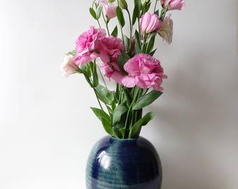 Vase  - Blue Green Vase - Handmade Ceramic vessel - flowers vase - Wedding Pottery gift - flower
