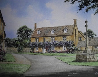 Original Watercolour Painting of Childswickham Cotswold English Village Scene