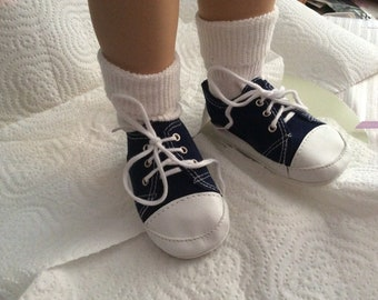 "Navy Tennis shoes - to fit My Twinn or similar 23"" dolls"