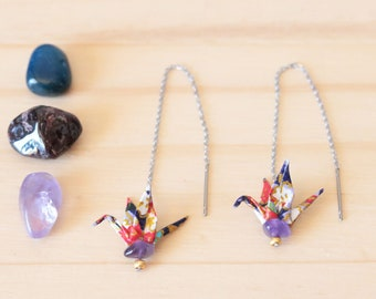 Chain earrings Japanese - Washi Origami paper crane & Amethyst - Aiko creating jewelry