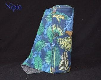Towel holder / towel washable jungle leaves / grey honeycomb - zero waste