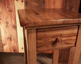 Wormy Chestnut Reclaimed Wood End Table with Drawer