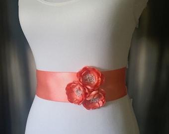Light Coral Sash- Wedding Sash- Bridal Sash- Coral Wedding- Flower Girl Sash- Bridesmaid Sash- Summer Wedding- Bridal Belt- Wedding Sash
