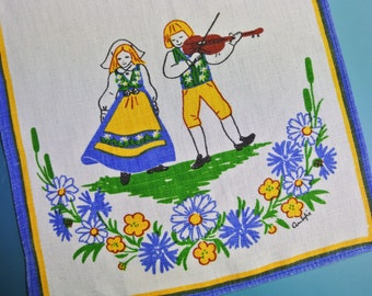 Swedish retro vintage 1970s small printed blue/yellow/green linen Lini Textil Ann-Sofie design tabelcloth runner w folkdance couples motive