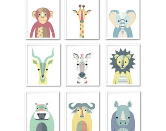 Nursery print set Safari animal wall art set of 9 Printable baby room decor Children poster Gender neutral INSTANT DOWNLOAD Kids poster