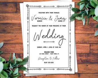 Vintage Wedding Invitations - Wedding Invitations - Wedding Invitation - Elegant Wedding Invites   Wildflowers