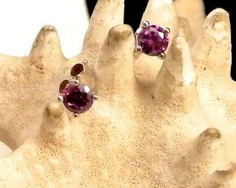 Sterling Silver Purple Amethyst Stud Earrings Small Stud Earrings 1980 Stud Earrings Amethyst Earrings Marked Earrings