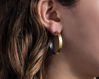 Gold Hoop Earrings, Wide 30mm, 22k