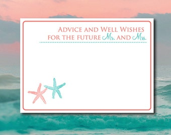 """Advice and Well Wishes for the Future Mr and Mrs Beach Wedding Advice Card """"Lazy Starfish"""" Coral Reef Teal Wedding Printable Wedding Insert"""