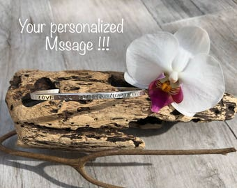 Personalized Quote bangle. Sterling silver.