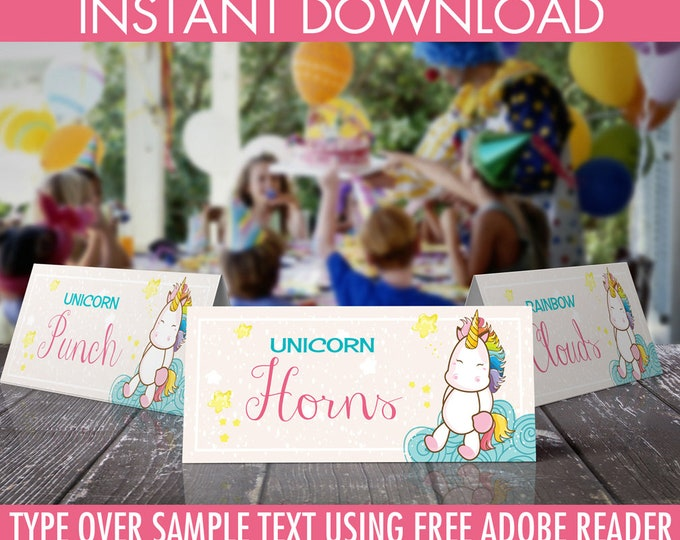 Unicorn Party Food Label - Unicorn Birthday, Rainbow Birthday, Magical Party - Editable Text - Instant Download PDF Printable