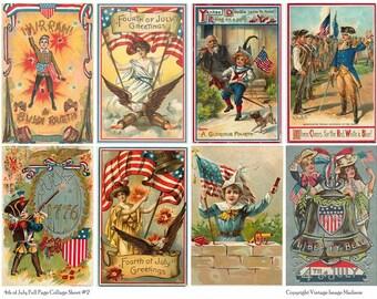 4TH OF JULY Vintage Postcards 2 - Instant Download Digital Collage Sheet